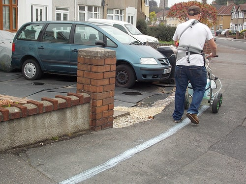 Marking the high water line in Bristol, 2007.