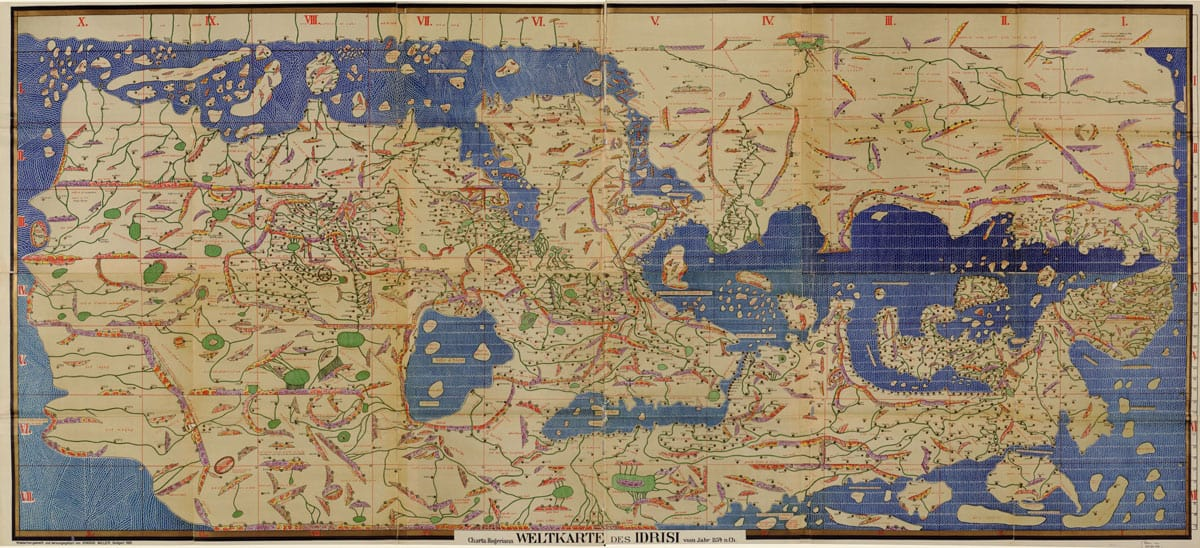 Al-Idrisi completed a detailed map of the world in Tabula Rogeriana, which means the Map of Roger in Latin. This copy of Idrisi's map was created by K. Miller in 1928 as part of a restoration of the 1154 map. Image: Library of Congress, public domain.