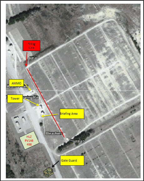 Map of a small arms range on Fort Hood, Texas; Prepared by 2LT Merritt