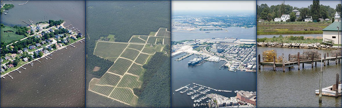 Geographers study how humans have altered the landscape.  In Chesapeake Bay: L-R: A waterfront residential community; row crops bordered by forest; Baltimore Harbor; piers and crab pots in a waterfront fishing community.  Photo: ason Burton, USGS. Public domain.