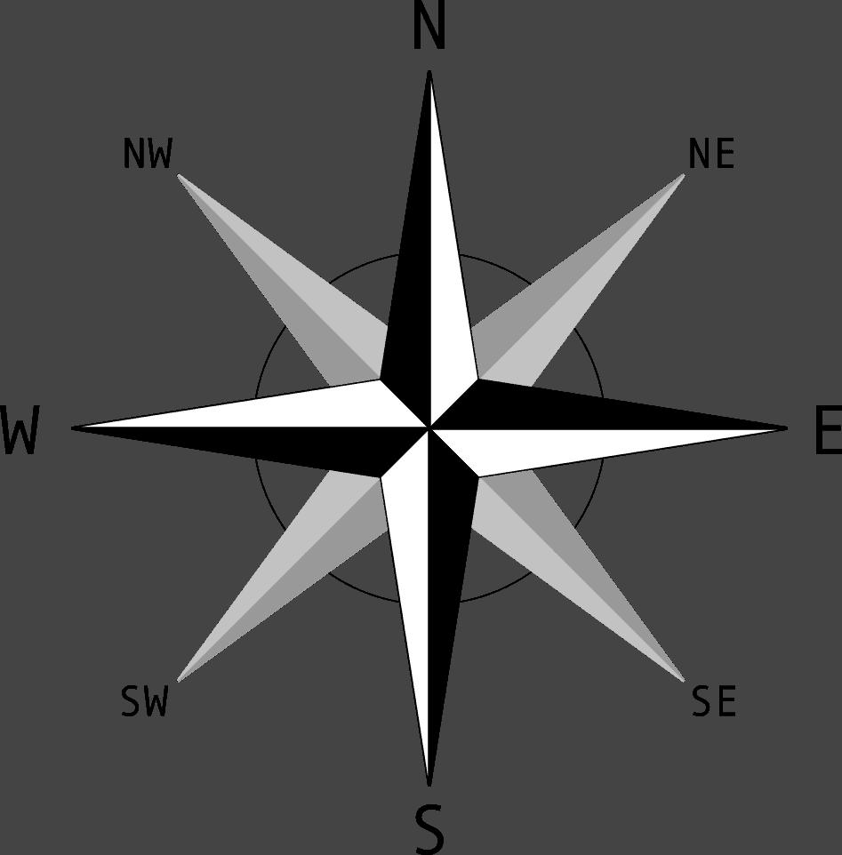 This compass rose shows ordinal and cardinal directions.