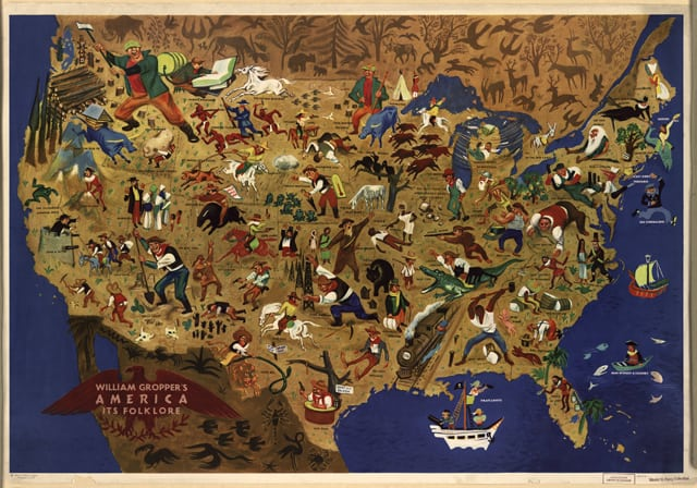 Mid-Century Map of American Folklore - GeoLounge: All Things Geography