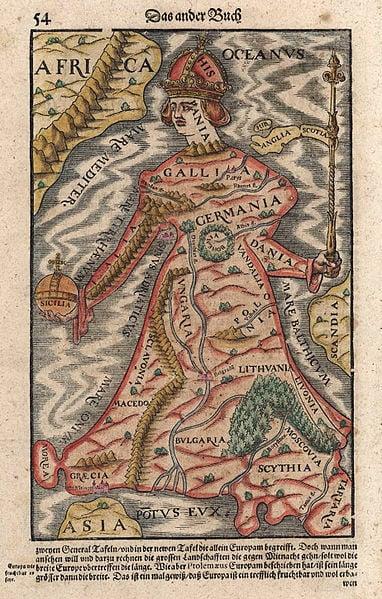 "Europa regina in Sebastian Münster's ""Cosmographia"", 1570."