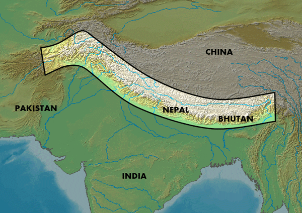 Location of the Himalayas mountain range.