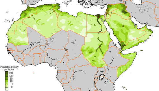 Population Density in the Arab League.  Source: World Geography Today (Holt, Rinehart and Winston, 2000)