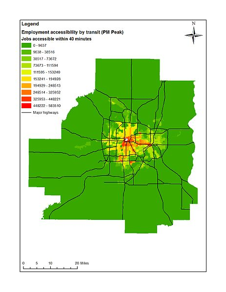 Accessibility to jobs by public transit within 40 minutes during PM Peak (4:15 PM) in 2005, Minneapolis-St. Paul, MN (USA).