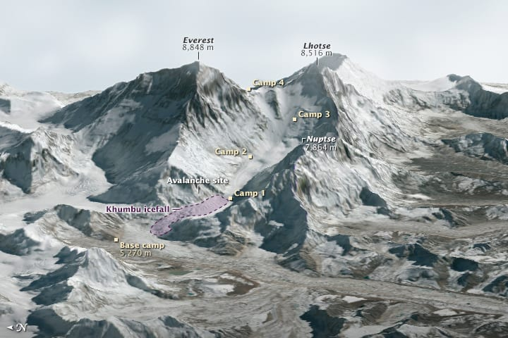 This three-dimensional rendering—made with data collected by the Operational Land Imager on Landsat 8 and the Advanced Spaceborne Thermal Emission and Reflection Radiometer (ASTER) on Terra shows Mount Everest and Lhotse.  Image: NASA, public domain