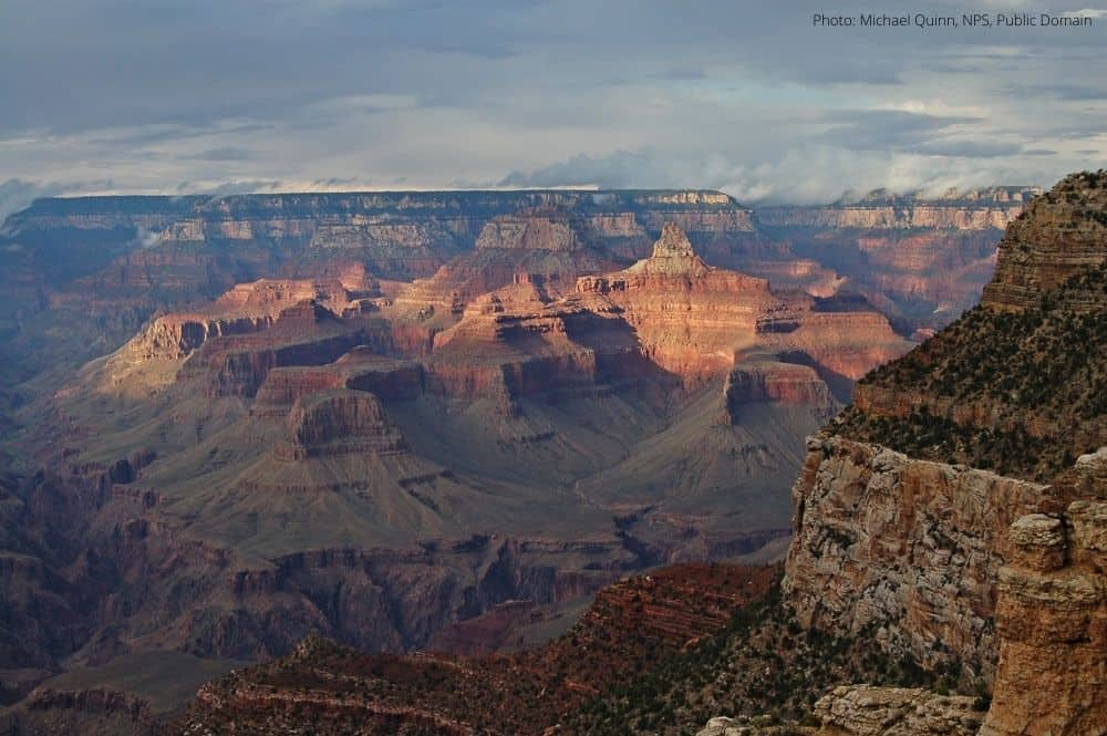 View of Zoroaster Temple from the El Tovar Hotel in the Grand Canyon. Photo: Michael Quinn, NPS, Public Domain.