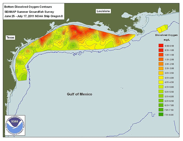 Map of the Gulf of Mexico Dead Zone. Source: NASA