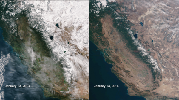 Snow conditions in January in 2013 and 2014. Source: NASA/NOAA.