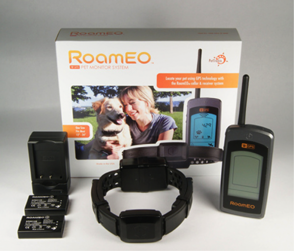 The RoamEO system includes a collar, receiver, two batteries and a charger.