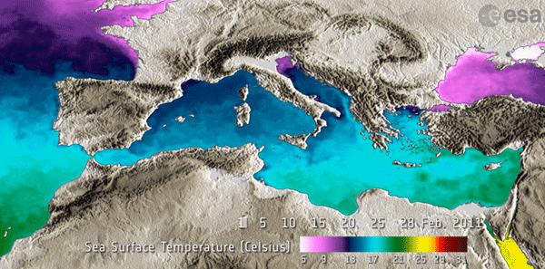 Mediterranean sea-surface temperature. Source: European Space Agency.