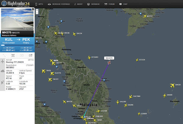 FlightRadar24, a real-time flight tracking app, shows a map of the last known location from its database of Malaysian flight 370.