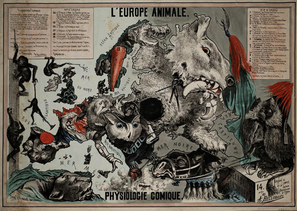 'L'Europe Animale - Physiologie Comique' (The European Animal - Comical Physiology) Designed and drawn by A. Belloquet; published in Brussels by Vincent in 1882