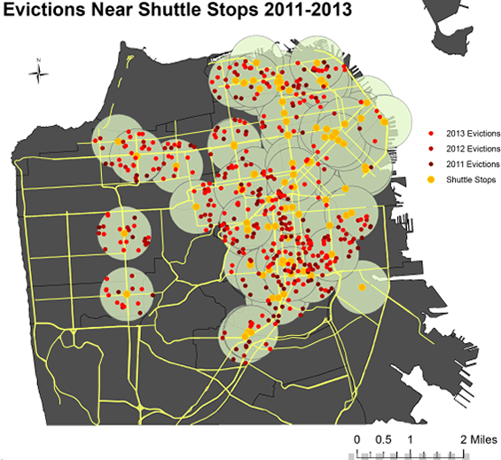 Tech Bus Stops and No-Fault Evictions in San Francisco, CA, 2011-2103. Source: Anti-Eviction Mapping Project.