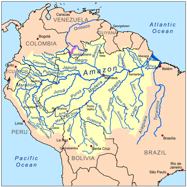 Map of the Amazon River drainage basin.