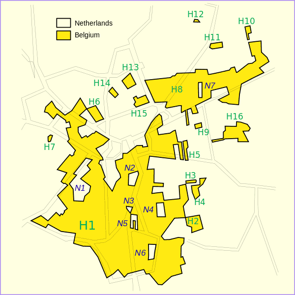 Map showing the border between Belgium and the Netherlands at Baarle-Nassau.