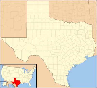 Map of Texas with a locator map showing the relative location of Texas within the continental United States.