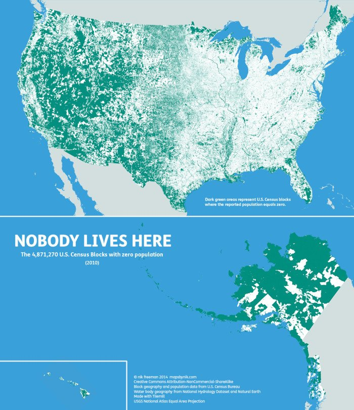 Nobody lives here: The nearly 5 million Census Blocks with zero population.  Map by Nik Freeman.