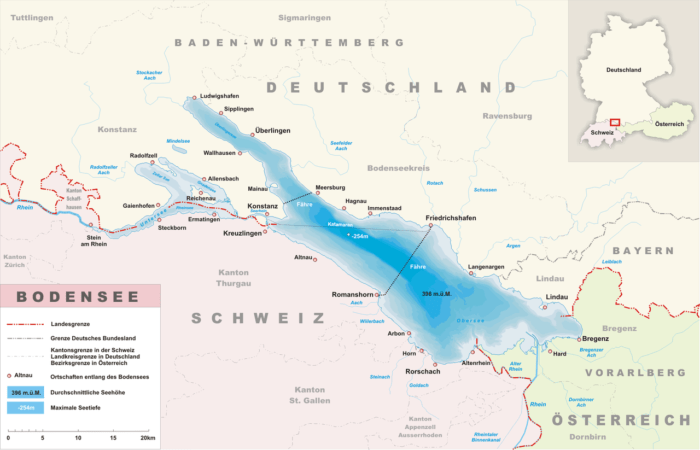 This map shows the location of Lake Constance (known in Germany as the Bodensee) in relation to Germany (Deutschland), Swizterland (Schweiz), and Austria (Oesterreich).