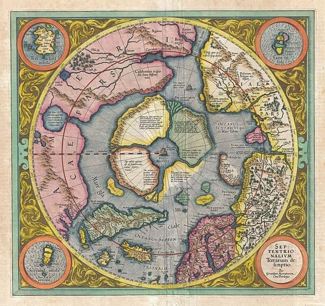 """Mercator's 1606 map of the North Pole. Mercator believed the North Pole to be a large magnetic black rock, the Rupes Nigra. Mercator wrote to Englishman John Dee, """"In the midst of the four countries is a Whirl-pool, into which there empty these four indrawing Seas which divide the North. And the water rushes round and descends into the Earth just as if one were pouring it through a filter funnel. It is four degrees wide on every side of the Pole, that is to say eight degrees altogether. Except that right under the Pole there lies a bare Rock in the midst of the Sea. Its circumference is almost 33 French miles, and it is all of magnetic Stone."""""""