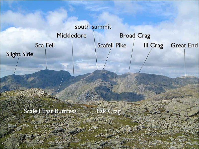 View of the Scafell range in the English Lake District, looking west from Crinkle Crags. Original photograph taken by Mick Knapton