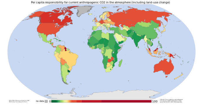 Cumulative per capita responsibility for anthropogenic CO2, 1950 - 2000. Data from the World Resources Institute's CAIT 4.0 database.