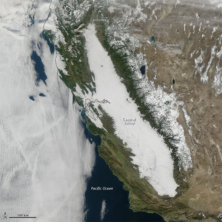 Tule fog coverage in California's Central Valley.  This image was captured on January 17, 2011, by the Moderate Resolution Imaging Spectroradiometer (MODIS) on NASA's Terra satellite.