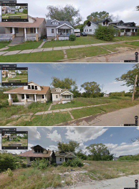 This row of house on Exeter between Seven Mile and Penrose in Northern Detroit shows the progression of increased blight starting in 2009 (top picture), 2011 (middle), and 2013 (bottom).