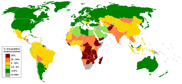 Map of countries by percentage of population suffering from undernourishment