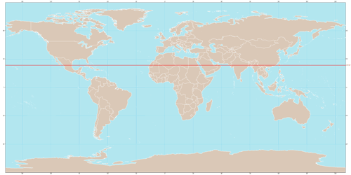 Map with the red line marking the Tropic of Cancer.