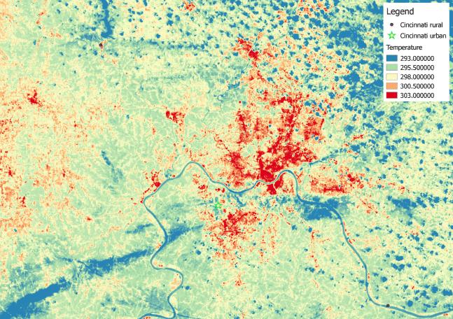 Map showing the urban heat island effect in Cincinnati, Ohio.
