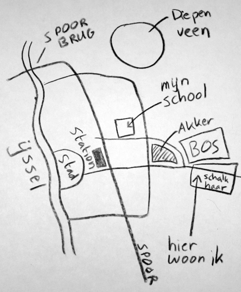 """This mental map by a Dutch person shows the personal interpretation of where he or she lives.  The arrow at the bottom right points to """"where I live"""".  The rest of the map shows the location of the river, the local school, and streets."""