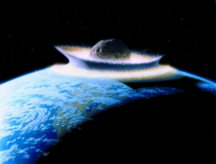 Artist rendering of a planetoid crashing into earth.  Artist: Don Davis (work commissioned by NASA)