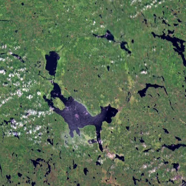 Siljan impact crater. Several lakes trace the remnants of the eroded impact crater that was formed by a meteorite impact about 370 million years ago. With a diameter of 55 km it is the largest impact structure in Europe. Lake Siljan is the large lake in the south of the ring. Source: NASA.