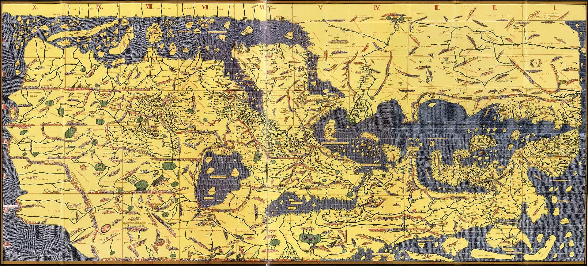 Tabula Rogeriana, 1154 by Muhammad al-Idrisi with south orientation.