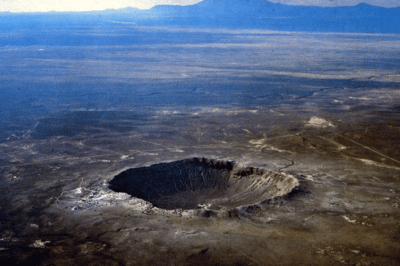 Barringer Meteor Crater in Arizona.