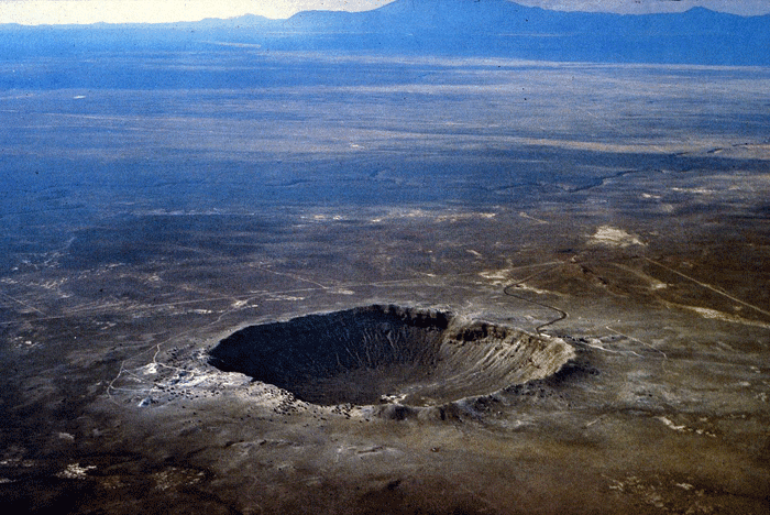 Barringer Meteor Crater in Arizona.