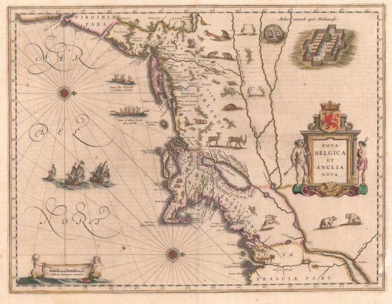 A map of New Netherlands and New England created by Dutch cartographer Willem Blaeu has a west orientation, 1635.