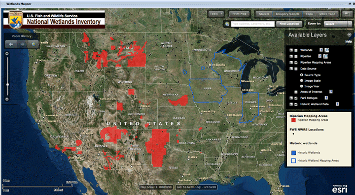 National Wetlands Mapper from the The US Fish and Wildlife Service (USFWS) .