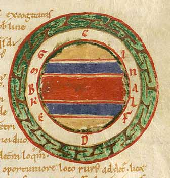 The five climes of the Earth. Frozen climes in yellow; Temperate climes in blue; Torrid clime in red.  From from a 12th-century manuscript of Macrobius' Commentarii in Somnium Scipionis.