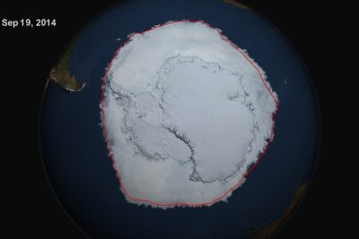 On Sept. 19, 2014, the five-day average of Antarctic sea ice extent exceeded 20 million square kilometers for the first time since 1979, according to the National Snow and Ice Data Center. The red line shows the average maximum extent from 1979-2014. Image Credit: NASA's Scientific Visualization Studio/Cindy Starr