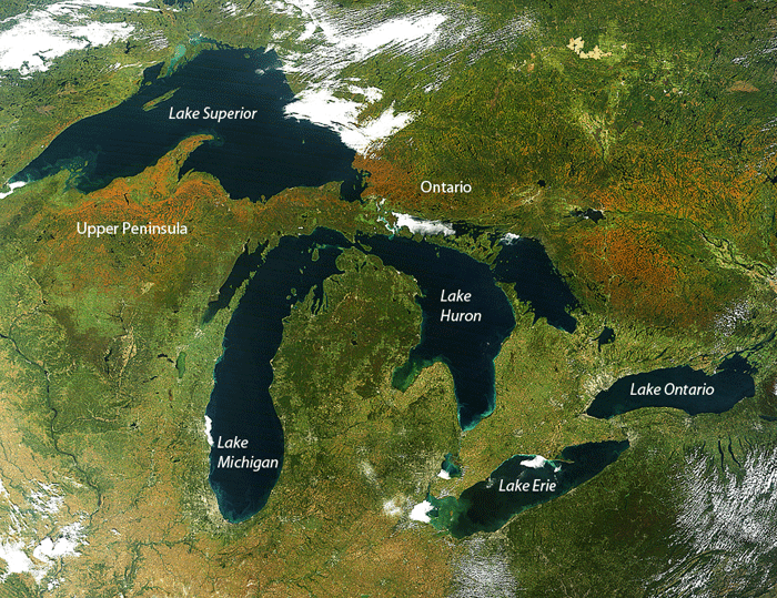 NASA's Terra satellite image of the Great Lakes.  Acquired: September 26, 2014. Source: NASA.