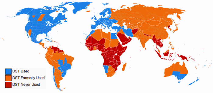 Map of where daylight saving time is still used around the world.