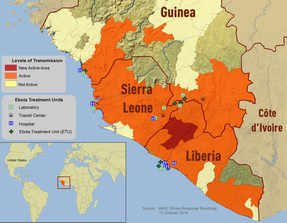 Ebola outbreak distribution map for West Africa. Source: CDC, October 10, 2014.
