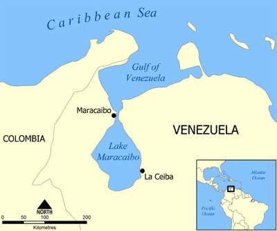 Location in Lake Maracaibo, Venezuela. Map: Wikipedia.