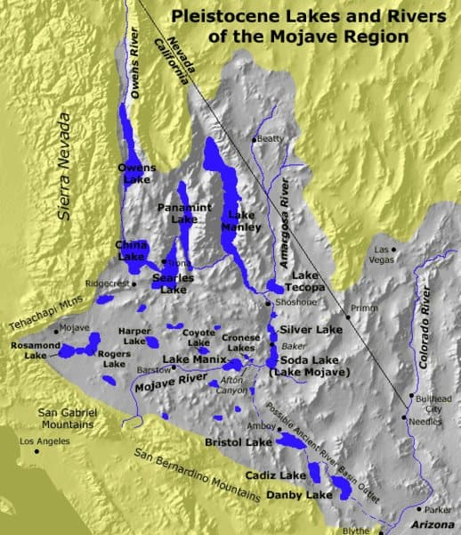 Pleistocene lakes and rivers from 15,000 years ago of the Mojave Desert. Source: USGS, 2004