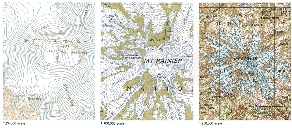 Mount Rainier in Washington shown on different scaled USGS topo maps.  Source: USGS, public domain.