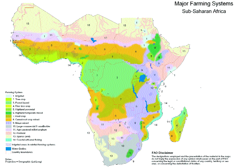 Map of farming systems in Africa. Source: FAO-United Nations.