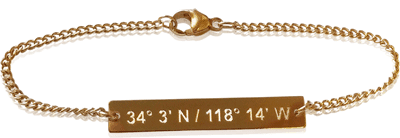 Lat & Lo offers customized coordinate necklaces and bracelets.